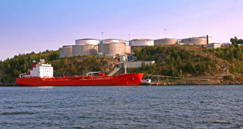 Tanker and Silos in harbour